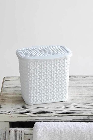 Arma House Örgü Desenli Beyaz Rengi Plastik Deterjan Kutusu 4,5 Lt Beyaz